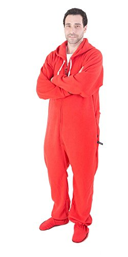Forever Lazy Footed Adult Onesie - Reddy for Bed - L (Red Footed Pajamas For Adults With Drop Seat)