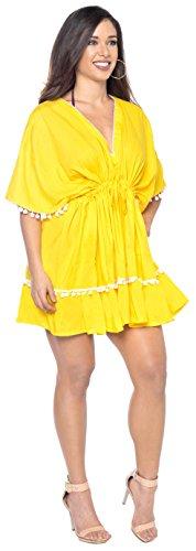 LA LEELA beachwear di l588 del da Giallo ricamato vestito bagno bagno occultamento costumi bikini camicia da leggero costume R1R4xrg