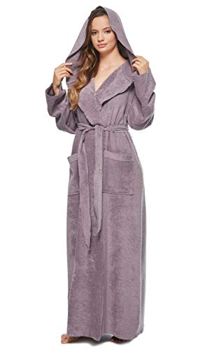 - Arus Womens Princess Robe Ankle Long Hooded Silky Light Turkish Cotton Bathrobe Plum Medium