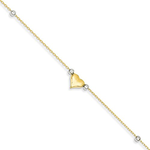 Mia Diamonds 14k Solid Gold Two-Tone Gold Polished Puffed Heart with Beads Anklet Bracelet -10