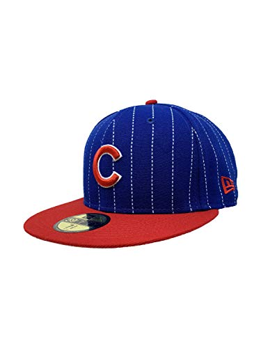 New Era Chicago Cubs 59Fifty Fitted Hat MLB Straight Brim Baseball Caps 5950 (7 3/8, Y2K Pinstripe) (Cubs Fitted Hat)