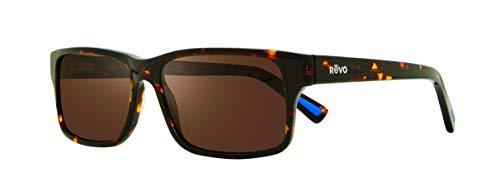 Revo Polarized Sunglasses Finley Rectangle Frame 57 mm, Tortoise Frame, Terra