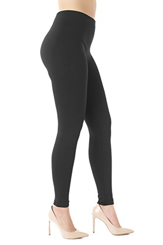 Conceited Warm Fleece Lined Leggings - Ultrasoft Premium - High Waisted Slimming - 10 Colors L/XL (12-20), Black