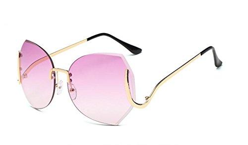 gradually sol grande cerco personalidad recortar de sol gafas bastidor LSHGYJ GLSYJ gafas Sin purple moda frame sol degradado gafas tablets de Gold de nqfwR6Ix