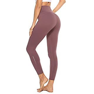 JOYSPELS Yoga Pants for Women with Pockets High Waisted Workout Leggings Spandex Exercise Running Athletic Leggings(PaleMauve,XS)