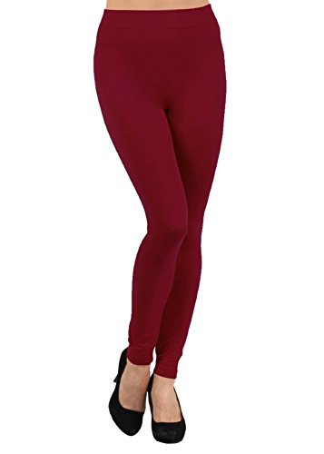 Yelete Women's Seamless Kermo Fleece Legging,One size fits most Wine Red One Size