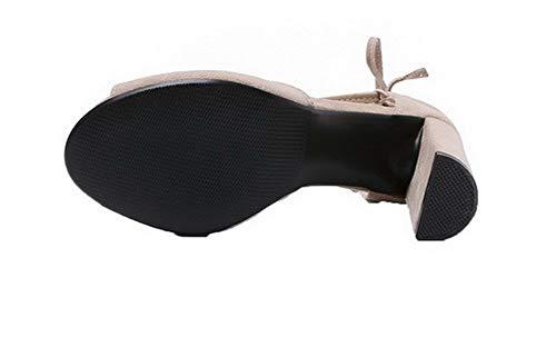 Talon AgooLar Ouverture Femme Beige Haut à d'orteil Couleur Sandales Unie GMBLB015631 Aw6TqIw