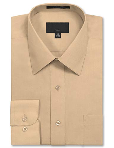 JD Apparel Mens Long Sleeve Regular Fit Solid Dress Shirt 14-14.5 N 30-31 S Blush Khaki,Small