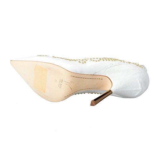 Giuseppe Zanotti Design Femmes Perlées Pompes Blanches Talons Hauts Chaussures Us 6 It 37