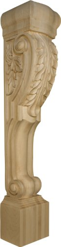 Extended Roman Island Height Corbel with Acanthus in Alder - Dimensions: 41 x 7 x 7 1/2 ()