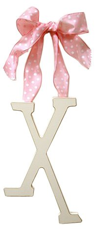 New Arrivals Wooden Letter X with Pink Polka Dot Ribbon, Cream