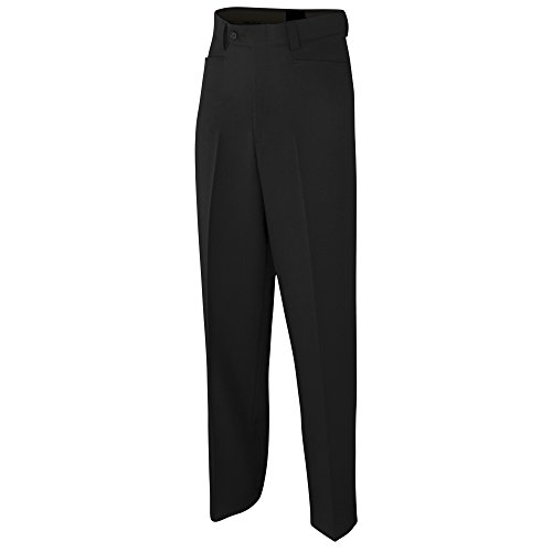 Adams USA ADMBS275-32-BK Referee Basketball Flat Front Poly/Spandex Uniform Pants, Black, Size 32
