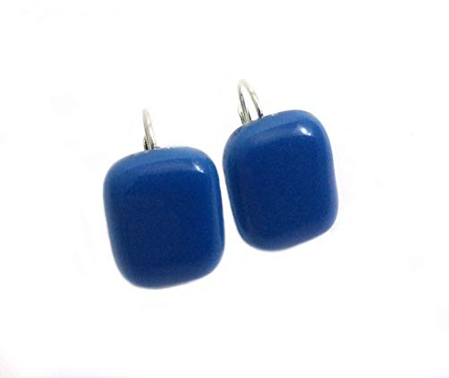 Handmade Fused Glass Solid Sky Blue Rectangular Earrings by Gerty