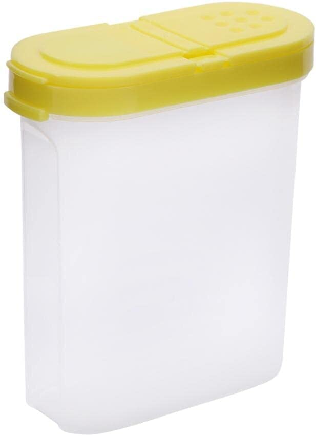 Pretty Styles Storage Box Food Container - Food Storage Clear Container Transparent Set With Pour 2 Lids Kitchen Sealed Snacks Dried Fruit Grains Tank Cereal Box, (Yellow)