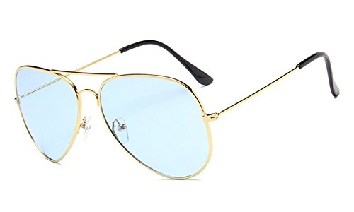 Nuni Unisex 3026 Gold Wire Frame Tinted Lens Aviator Sunglasses (gold, - Sunglasses Aviator Tinted Blue