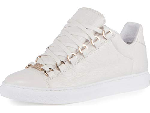 Balenciaga Crinkled Leather Lace-Up Sneaker White 42