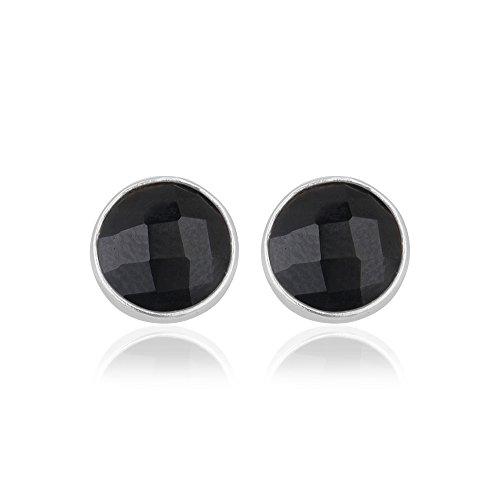 (Black Stud Earrings, 925 Sterling Silver Round Stud Earrings, Gemstone jewelry)