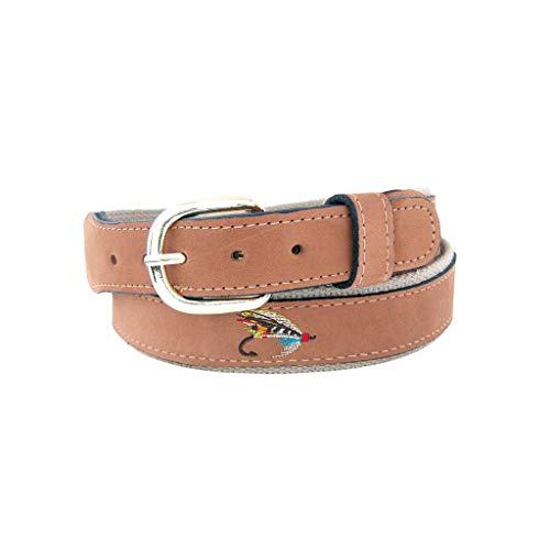(ZEP-PRO Belt Embroidered Silver Doctor Fly Leather Belt-32)