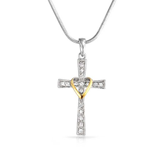 ty Love of God for Women Heart and Cross Pendant CZ Pave Two Tone Necklace Silver Tone 14k Gold Plated Brass 16 in ()