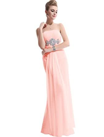 HE09652PK06, Pink, 4US, Ever Pretty Maxi Bridesmaid Dresses For Women 09652