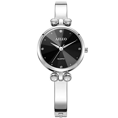 (Watch Waterproof Fashion Quartz Women Watches, Stainless Steel Bracelet Wrist for Women, Casual Diamond Accented Markers (Color : Silver))