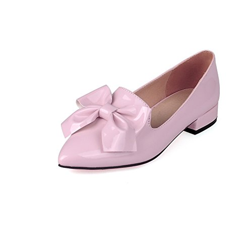 BalaMasa Ladies Metal Bowknot Pointed-Toe Cow Leather Pumps-Shoes Pink 4S9lmk