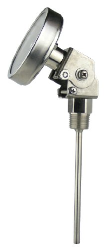 "REOTEMP LL0601F67 Stainless Steel  Bi Metal Thermometer, 6"" Stem, 1/2"" NPT Connection, 3"" Dial, 50 to 500 Degrees F, All-Angle Mount"