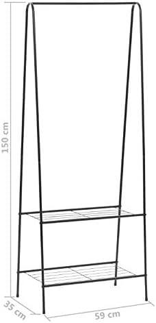 Negro 59 x 35 x 150 cm Perchero con Zapatero Recibidor Perchero de Pie de Metal con 2 Estantes