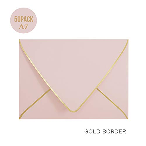 A7 Pink Envelopes 5 x 7 - V Flap, Quick Self Seal, with Gold Border, for 5x7 Cards| Perfect for Weddings, Invitations, Photos, Graduation, Baby Shower|Thick Luxury Paper (Pink-Golden ()