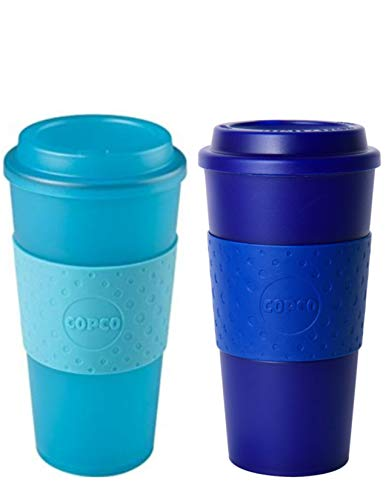 (Copco Acadia Double Wall Insulated 16 oz Travel To Go Mug with Non-Slip Sleeve, Set of 2, Commuter Friendly, Drink On the Go (Translucent Teal/Translucent Navy))