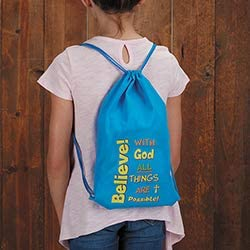 US Gifts Believe 12//pk with God All Things are Possible Drawstring Backpack
