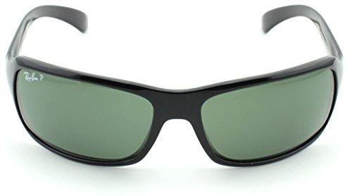 6cfc5f74d41 Ray-Ban RB4075 Unisex Rectangular Sunglasses (Black Frame Crystal Green  Polarized Lens 601