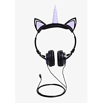 Gabba Goods Premium LED Light Up in The Dark Unicorn Over The Ear Comfort Padded Stereo Headphones with AUX Cable | Earphones