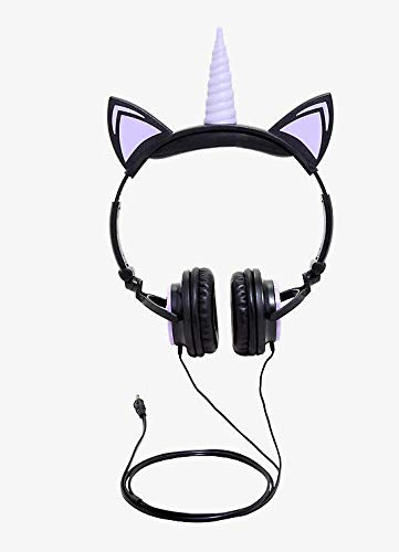 Gabba Goods Premium LED Light Up in The Dark Unicorn Over The Ear Comfort Padded Stereo Headphones with AUX Cable | Earphones (Essentials Set Comfort)