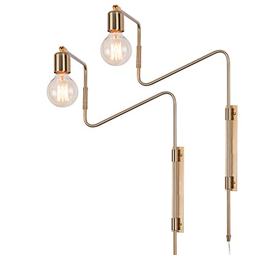 Swing Arm Wall Sconce Plug in Ultra Thin Flexible Retro Wall Lamp Brass Plating Plug in Hard Wired Industrial Retro Rustic Antique Wall Lamp for Living Room Bedroom Study Room, Set of 2