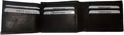 Wallet Wallet window Holder ID Men's Card 8 wallet Black Black Billfod 2 Bifold 2 Leather RAdxF