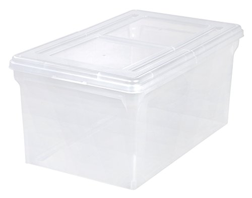 IRIS Split-Lid Letter Size File Box, 5 Pack, Large, Clear - Hanging File Tote