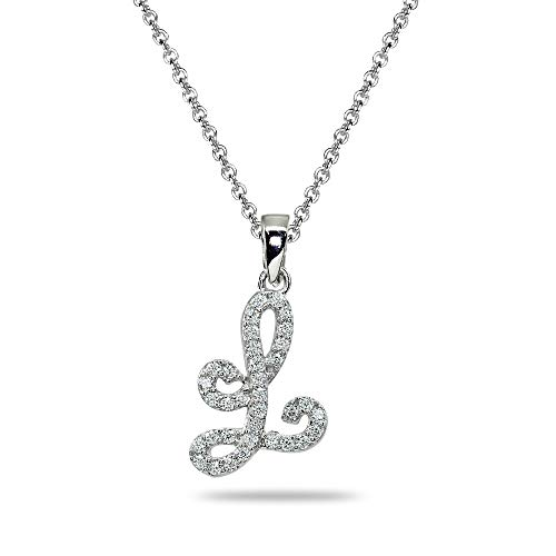 (Sterling Silver Cubic Zirconia L Letter Initial Alphabet Name Personalized Pendant Necklace)