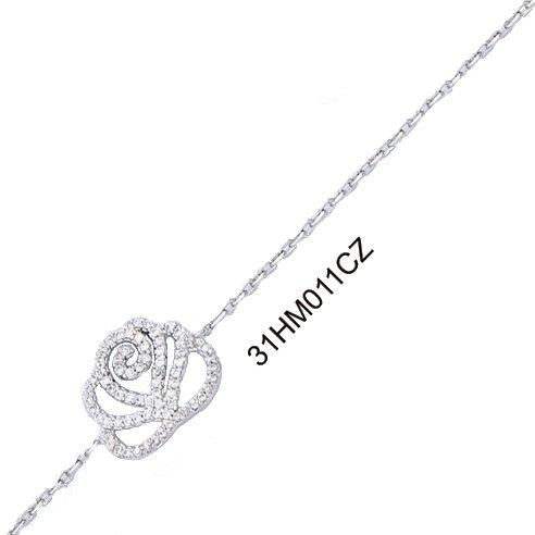 Bracelet Argent 925/000 Rhodié et Oxyde de Zirconium - Strass - Motif Fleur 18cm - Bijou Femme
