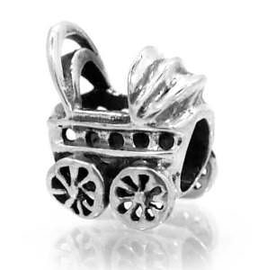 Baby Carriage Bead Charm Spacer Compatible with Pandora, Biagi, Troll, Chamilia and Other Italian Jewelry