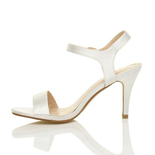 Donna scarpe alto tallone partito caviglia sandali numero cinghietti Avorio Raso cinturino HwHZqpO