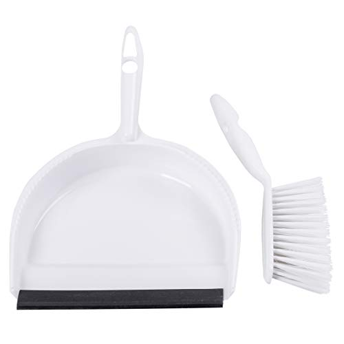 Mini Dustpan and Brush Set by Annaklin, Mini Broom and Dustpan for Tile, Table, House Floor, Sofa. White/Black