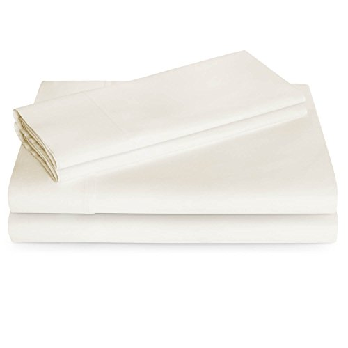 - PH 4 Piece Queen Ivory Sheet Set, Modern & Traditional Style, Cotton Polyester Material, Deep Pocket, Solid Color Pattern, Fully Elasticized Fitted, Wrinkle Fade Resistant, Machine Wash - Off White