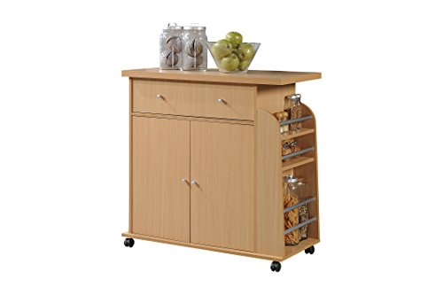 (HODEDAH IMPORT HIK65 Beech Kitchen Island with Spice Rack and Towel Rack, Beech )