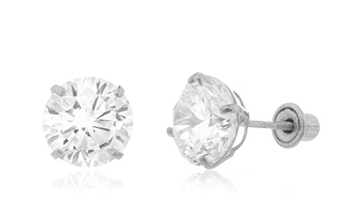 14K White Gold Screwback Earrings Round Cubic Zirconia Studs (GO-1744)