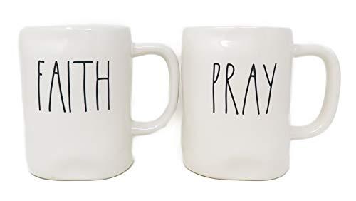 Rae Dunn By Magenta 2 Piece FAITH + PRAY Ceramic LL Coffee Tea Mug Set