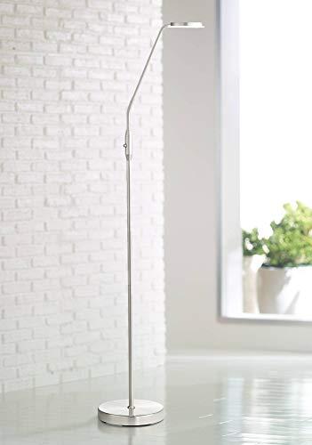 Harmon Modern Task Floor Lamp LED Brushed Nickel Adjustable Gooseneck Arm Glass Disk Shade for Living Room Reading Bedroom Office - 360 Lighting