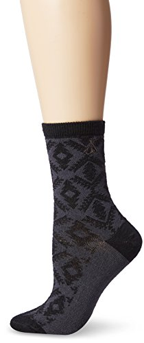 Wool Anklet - Pendleton Women's Diamond River Anklet Socks, Black, Medium(6-10)
