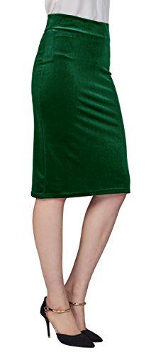 Urban CoCo Women's Elastic Waist Stretch Velvet Bodycon Pencil Skirt (L, Dark Dreen-Midi)