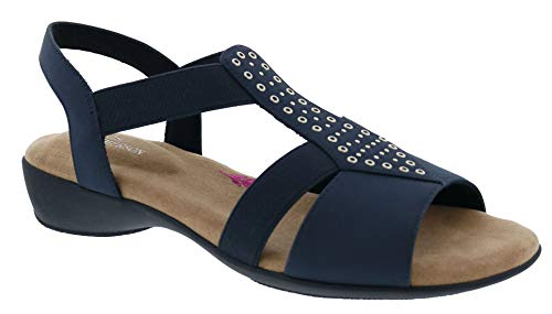 Ros Hommerson Miriam 67028 Women's Casual Sandal: Navy/Elastic 12 X-Wide (2E) Slip-On